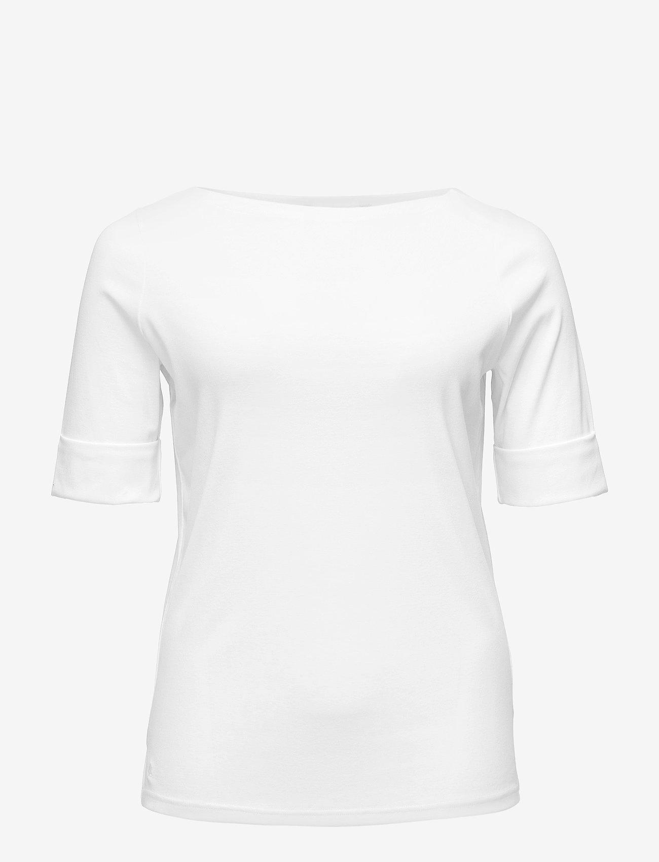 Lauren Women - Stretch Cotton Boatneck Tee - t-shirts - white - 0