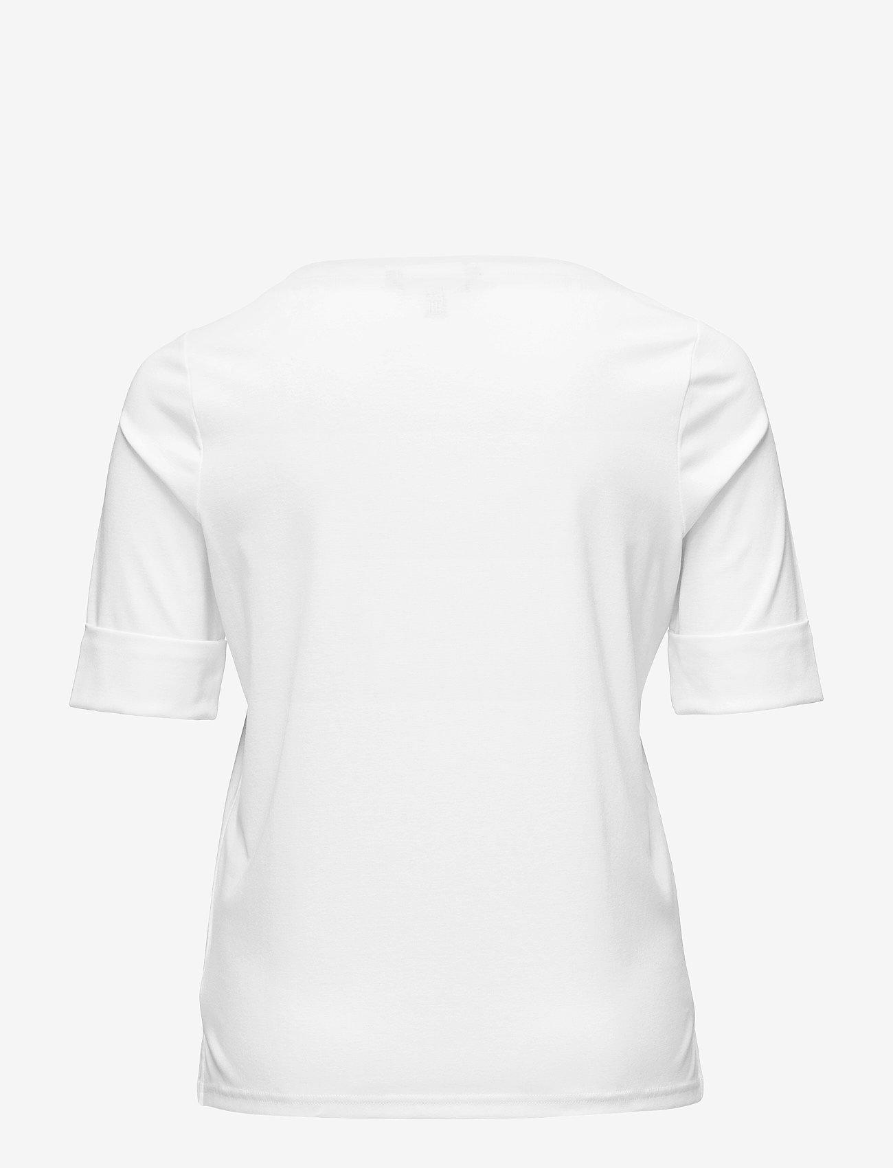 Lauren Women - Stretch Cotton Boatneck Tee - t-shirts - white - 1