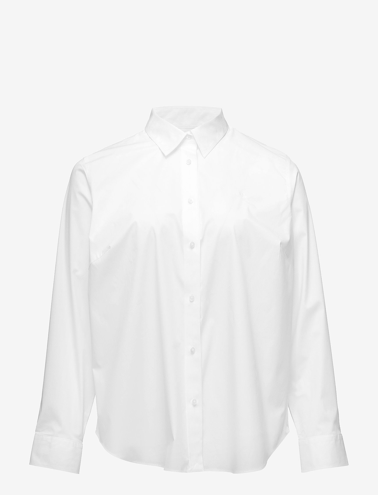 Lauren Women - No-Iron Stretch Cotton Shirt - langærmede skjorter - white - 0