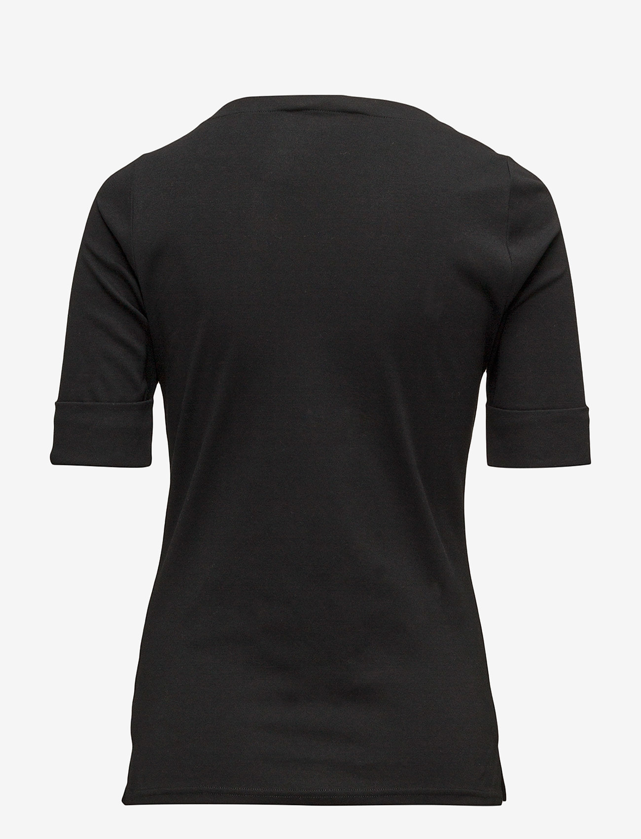 Lauren Women - Stretch Cotton Boatneck Tee - t-shirts - polo black - 1