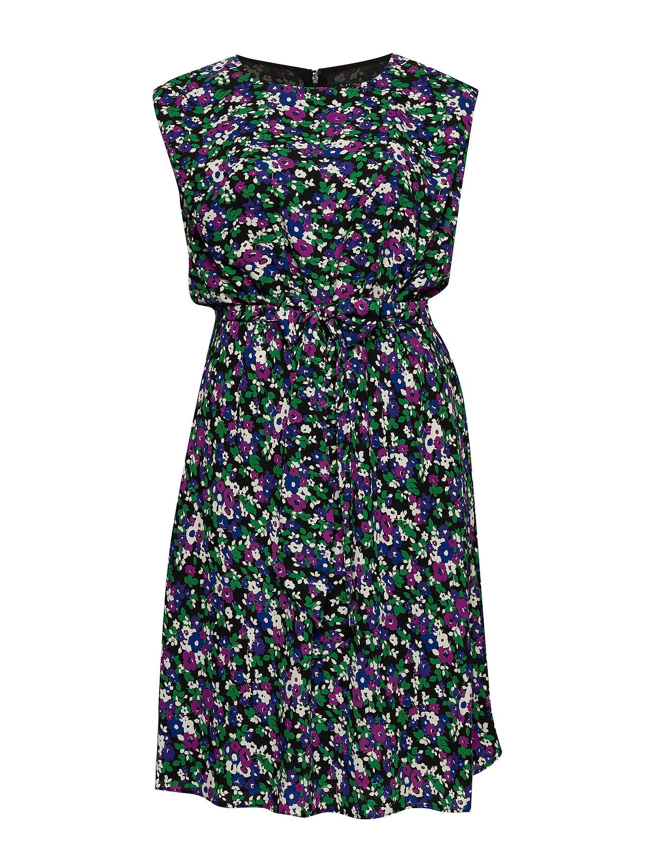 Lauren Women Georgette Cap-Sleeve Dress - POLO BLACK MULTI