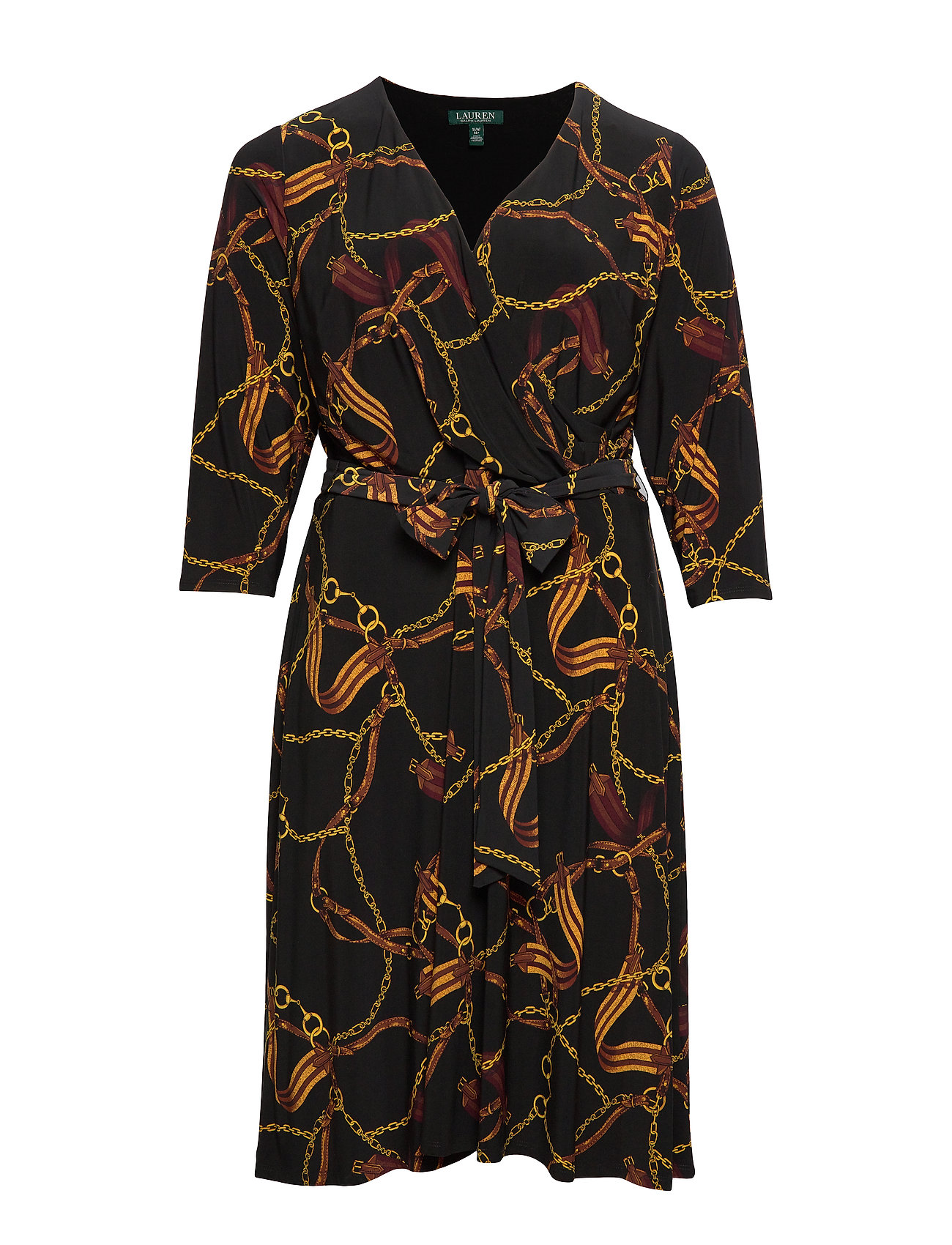 Lauren Women PRINTED MATTE JRSY-DRESS - BLACK/GOLD/MULTI