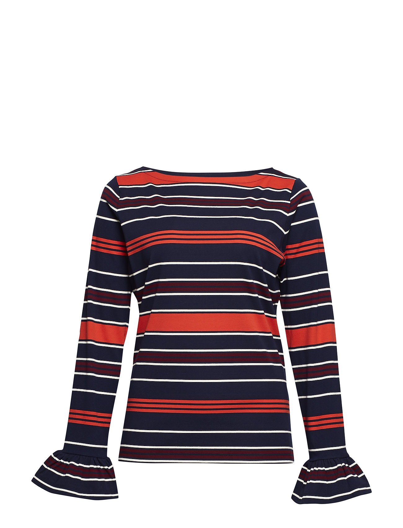 Lauren Women Striped Bell-Cuff Top - MULTI
