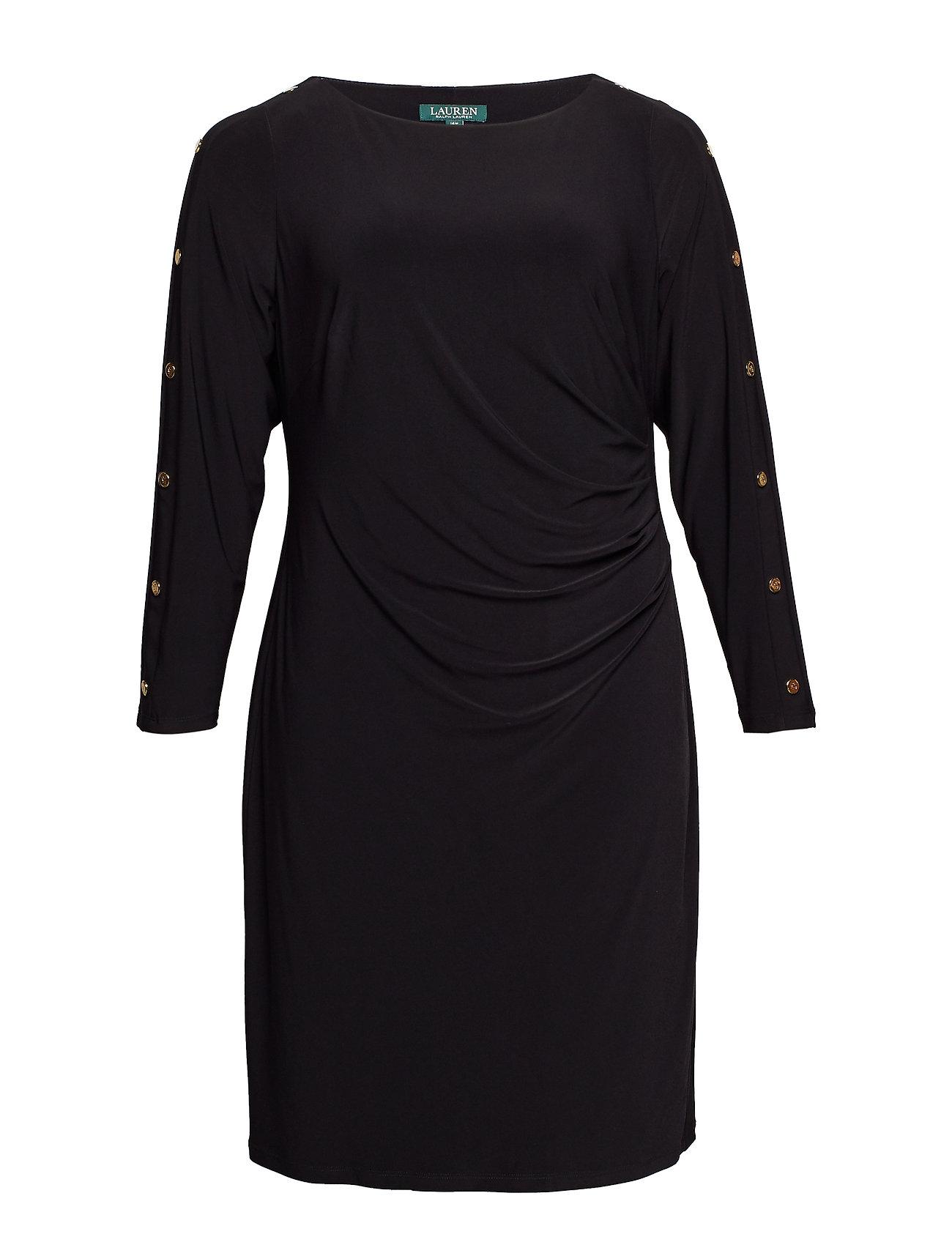 Lauren kvinnor Plus Storlek Button Trim Matte Jersey Dress Klänningar