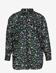 Lauren Women - Floral-Print Cotton Shirt - langærmede skjorter - polo black multi - 0