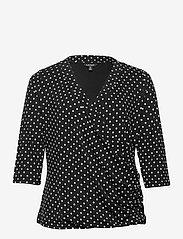 Lauren Women - Polka-Dot Wrap-Style Jersey Top - langærmede toppe - polo black/white - 0