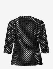 Lauren Women - Polka-Dot Wrap-Style Jersey Top - langærmede toppe - polo black/white - 1