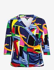 Lauren Women - Print Wrap-Style Jersey Top - langærmede bluser - blue multi - 0