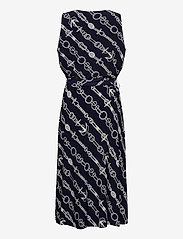 Lauren Women - Print Tie-Waist Jersey Dress - midi kjoler - lighthouse navy/c - 1