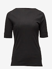 Lauren Women - Stretch Cotton Boatneck Tee - t-shirts - polo black - 0