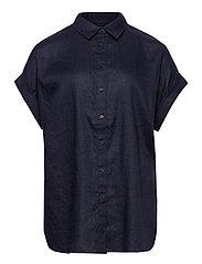 Linen Short-Sleeve Shirt - LAUREN NAVY