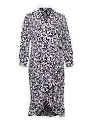 Floral Wrap-Style Dress - LAUREN NAVY/PALE