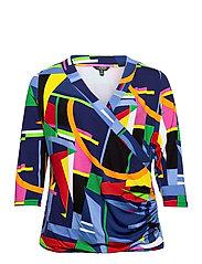 Print Wrap-Style Jersey Top - BLUE MULTI