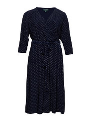 Plus-Size Polka-Dot Ruched Dress - LIGHTHOUSE NAVY/C