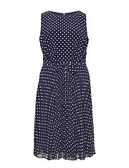 PRINTED MATTE JRSY-DRESS W/ COMBO - LH NAVY/COLONIAL