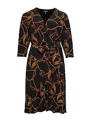 PRINTED MATTE JRSY-DRESS - BLACK/GOLD/MULTI