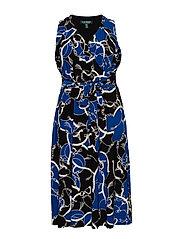 Print Tie-Waist Midi Dress - BLACK/REGAL SAPPH