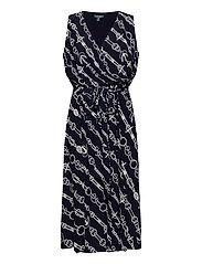 Print Tie-Waist Jersey Dress - LIGHTHOUSE NAVY/C