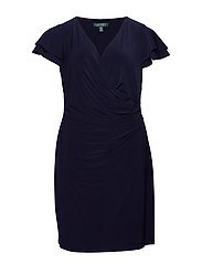 Flutter-Sleeve Surplice Dress - LIGHTHOUSE NAVY
