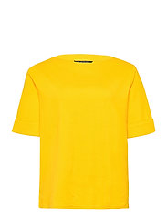 Stretch Cotton Boatneck Tee - ATHLETIC GOLD