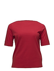 Stretch Cotton Boatneck Tee - LIPSTICK RED