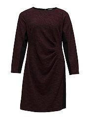 Jacquard Long-Sleeve Dress - BLACK/RIOJA