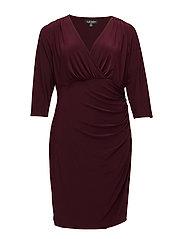 Ruched Jersey V-Neck Dress - RIOJA