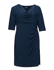 Ruched Jersey V-Neck Dress - LUXE BERYL