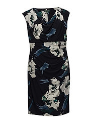 Floral Ruched Jersey Dress - TEAL/LH NAVY/MULT