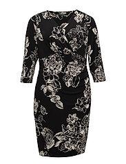 Floral Jersey Surplice Dress - BLACK/GREY/MULTI