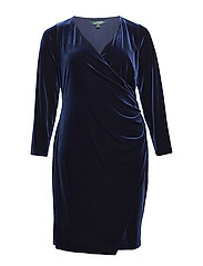 Plus-Size Velvet Surplice Dress - NIGHTFALL