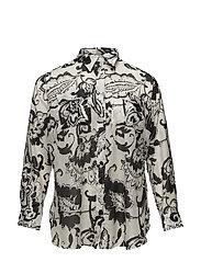 Paisley Cotton-Silk Shirt - PEARL/BLACK