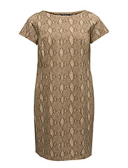 DREENIE - S/S BOATNECK DRESS - TAN MULTI