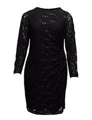 ANNALISE - LONG SLEEVE DRESS - BLACK/BLACK SEQ