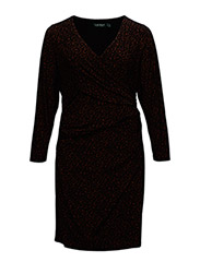 MAPELLE - LONG SLEEVE DRESS - CARMEL/BLACK