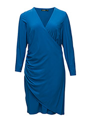 RUCHED SURPLICE JERSEY DRESS - MADELINE BLUE