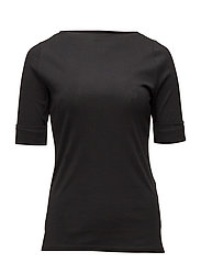 Stretch Cotton Boatneck Tee - POLO BLACK
