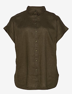 Linen Short-Sleeve Shirt - DARK SAGE