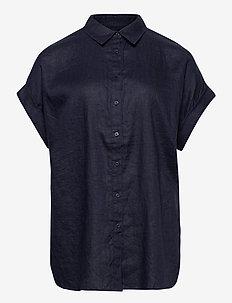 Linen Short-Sleeve Shirt - chemises à manches courtes - lauren navy