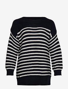 Striped Cotton Sweater - LAUREN NAVY/MASCA