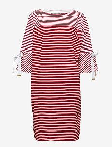 Striped Cotton Dress - LIPSTICK RED MULT