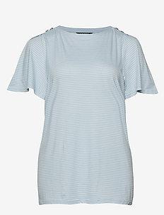 Plus Size Jersey Flutter-Sleeve Top - ENGLISH BLUE/SILK
