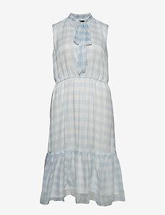 Plus Size Gingham Tie-Neck Dress - SILK WHITE/ENGLIS