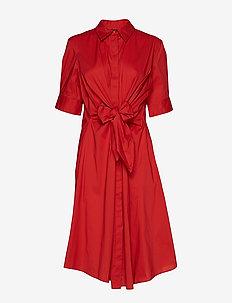 Cotton-Blend Shirtdress - CANYON RED