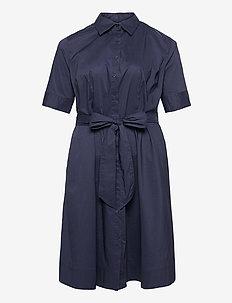 Cotton-Blend Shirtdress - everyday dresses - french navy