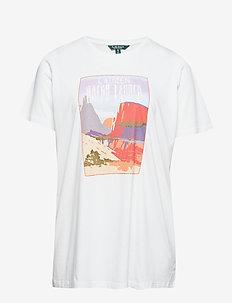 Cotton Blend Graphic T-Shirt - WHITE