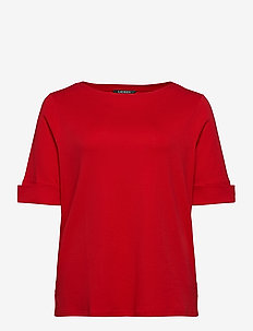 Cotton-Blend Boatneck Top - t-shirts - orient red
