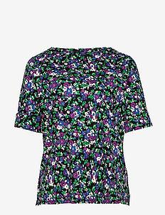 Floral Cotton-Blend Top - t-shirts - polo black multi