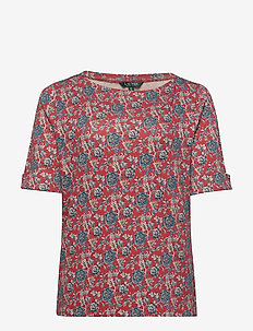 Floral Cotton-Blend Top - t-shirts - red multi