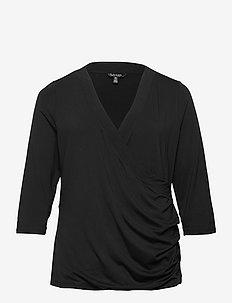 Wrap-Style Jersey Top - langærmede toppe - polo black